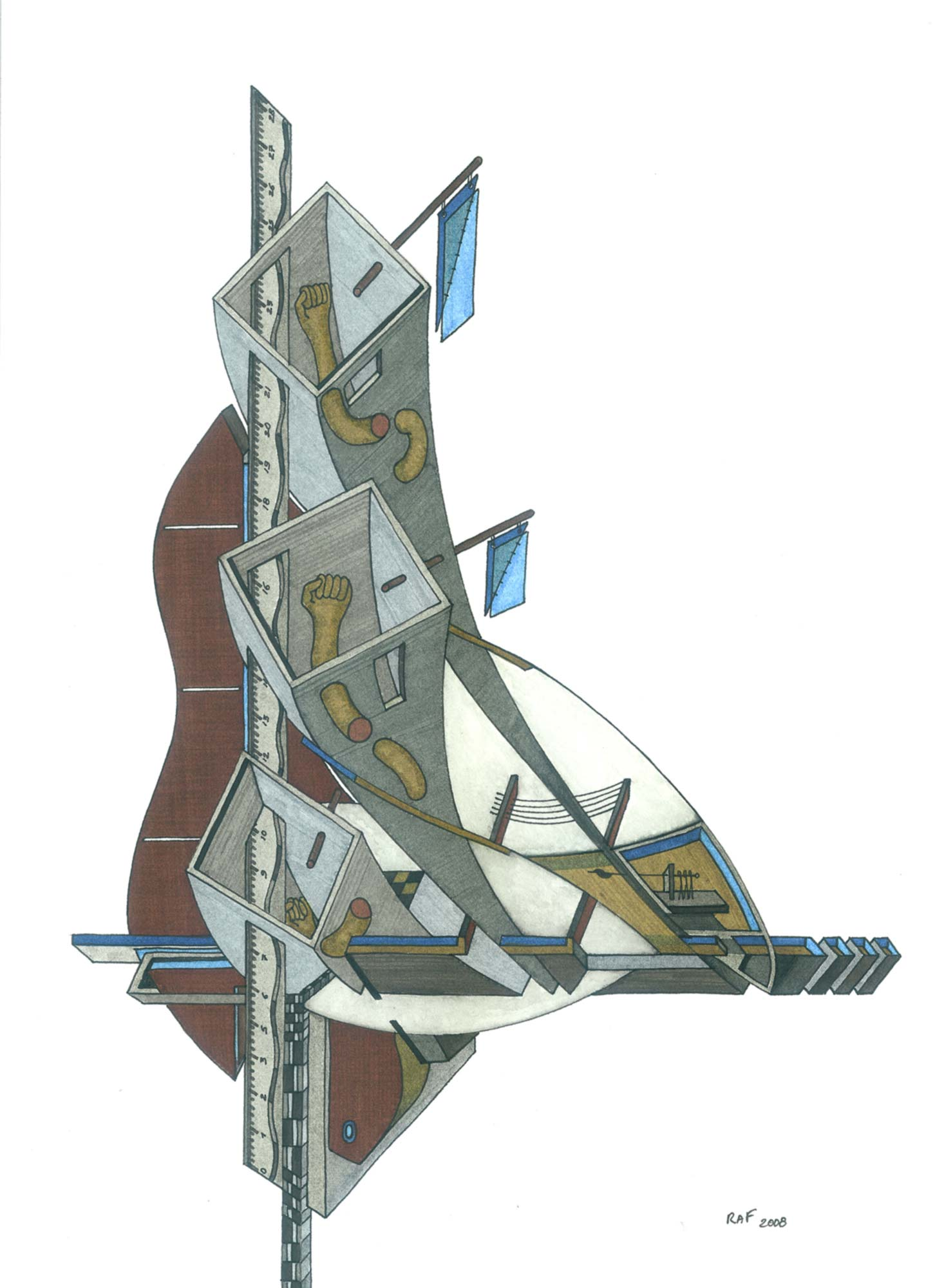 Abscisse et ordonné, dessin, Raf Listowski, 2008