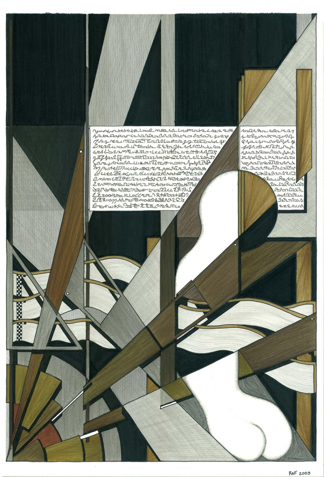 Au bord de l'abysse, dessin, Raf Listowski, 2009