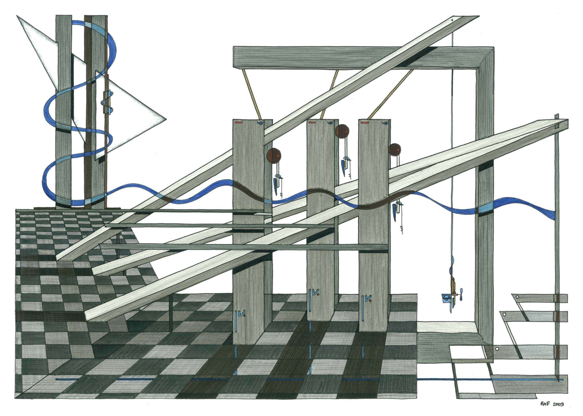 Au bord du vide, dessin, Raf Listowski, 2009