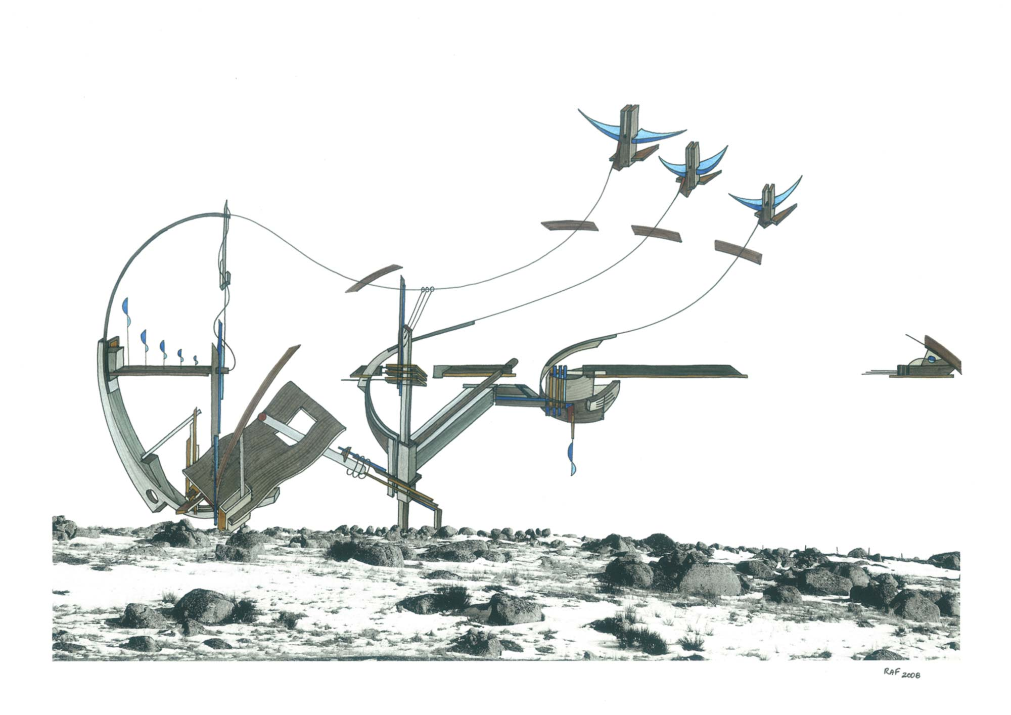 Aubrac, dessin, Raf Listowski, 2007