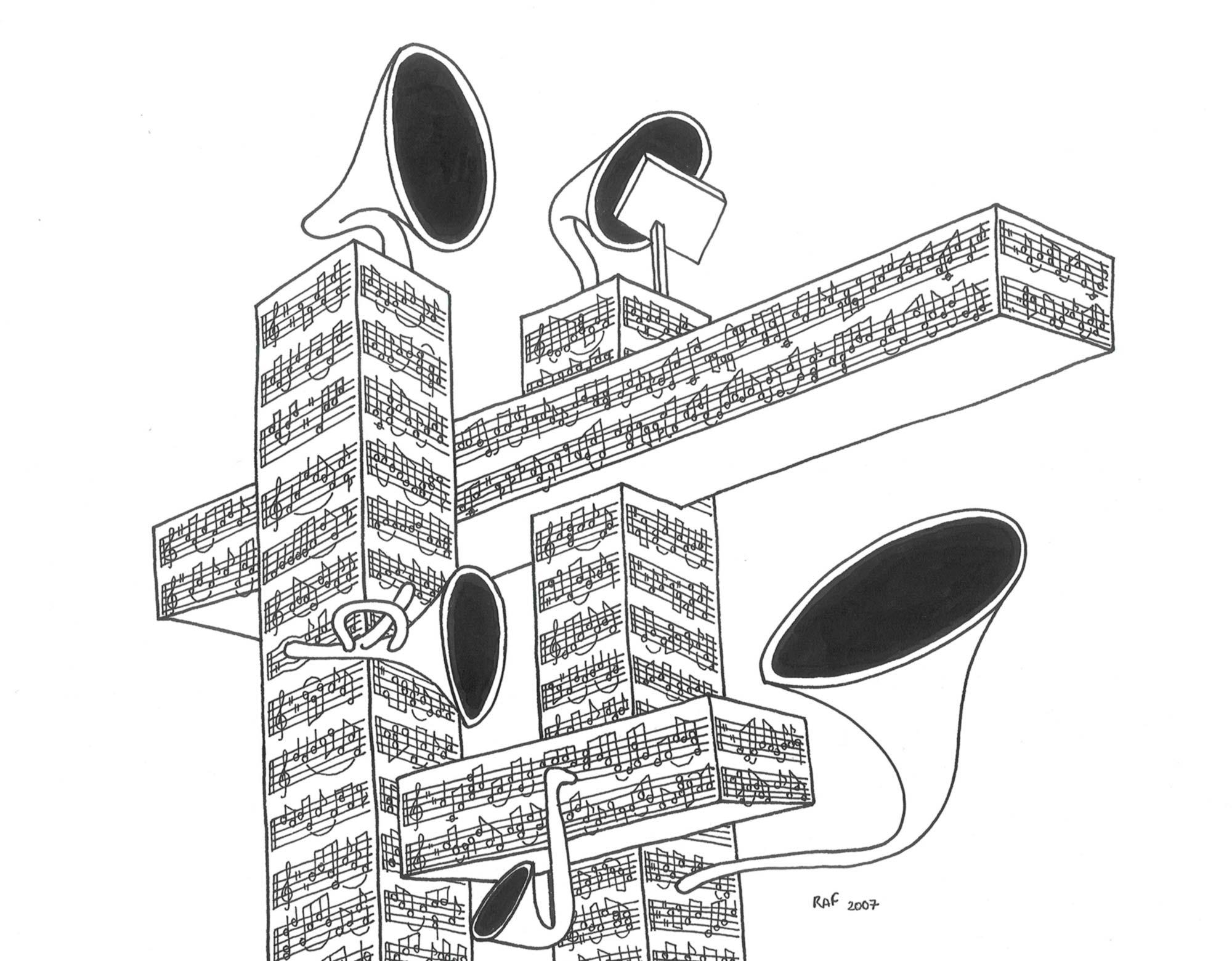 Bach ground, dessin, Raf Listowski, 2007