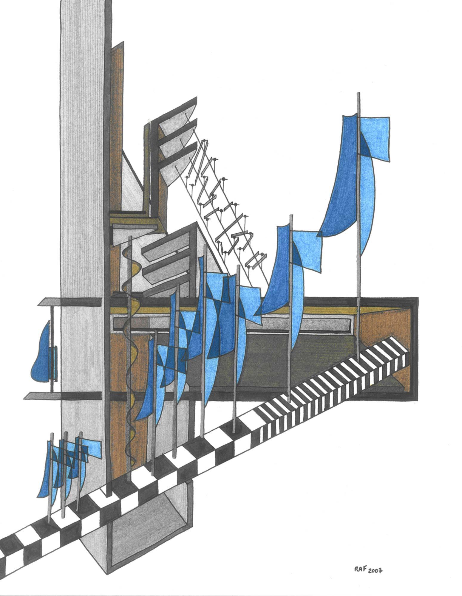 Caravelle, dessin, Raf Listowski, 2007