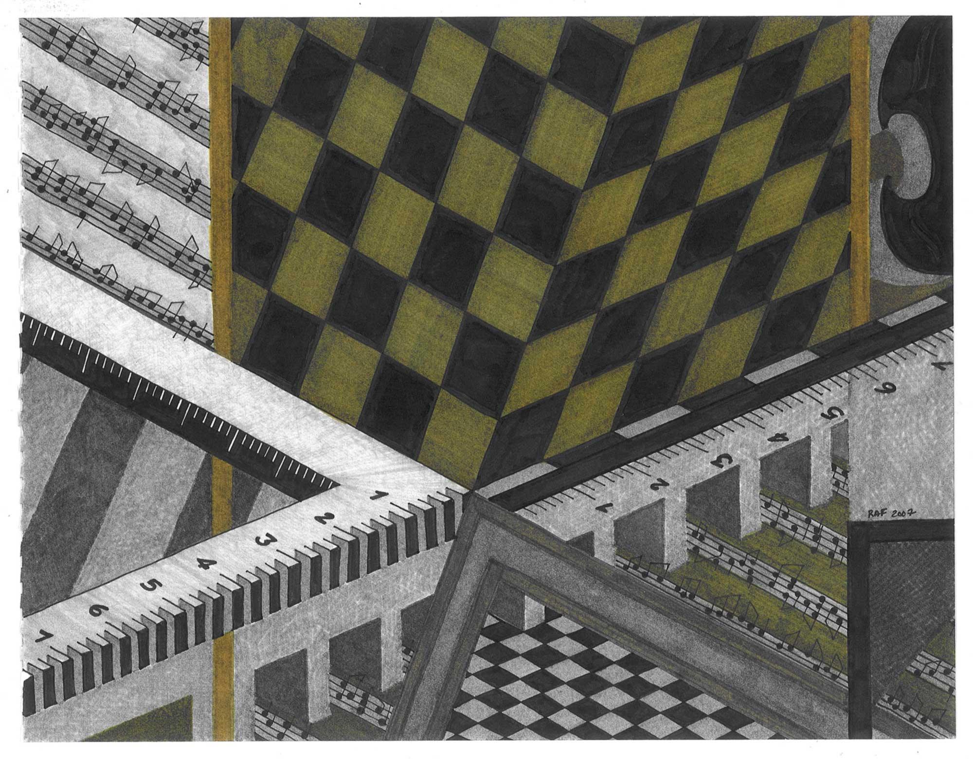 Chemin de fer, dessin, Raf Listowski, 2007