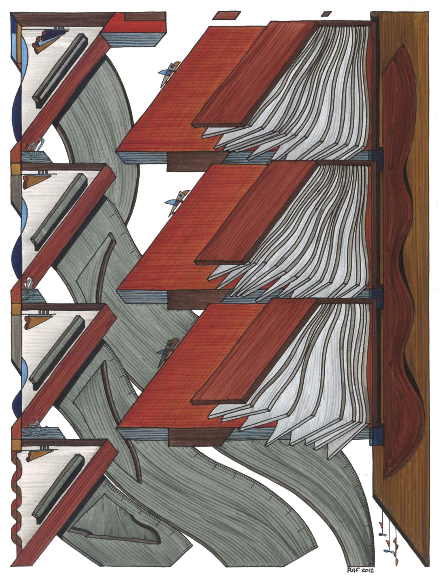 Grands livres, dessin, Raf Listowski, 2012