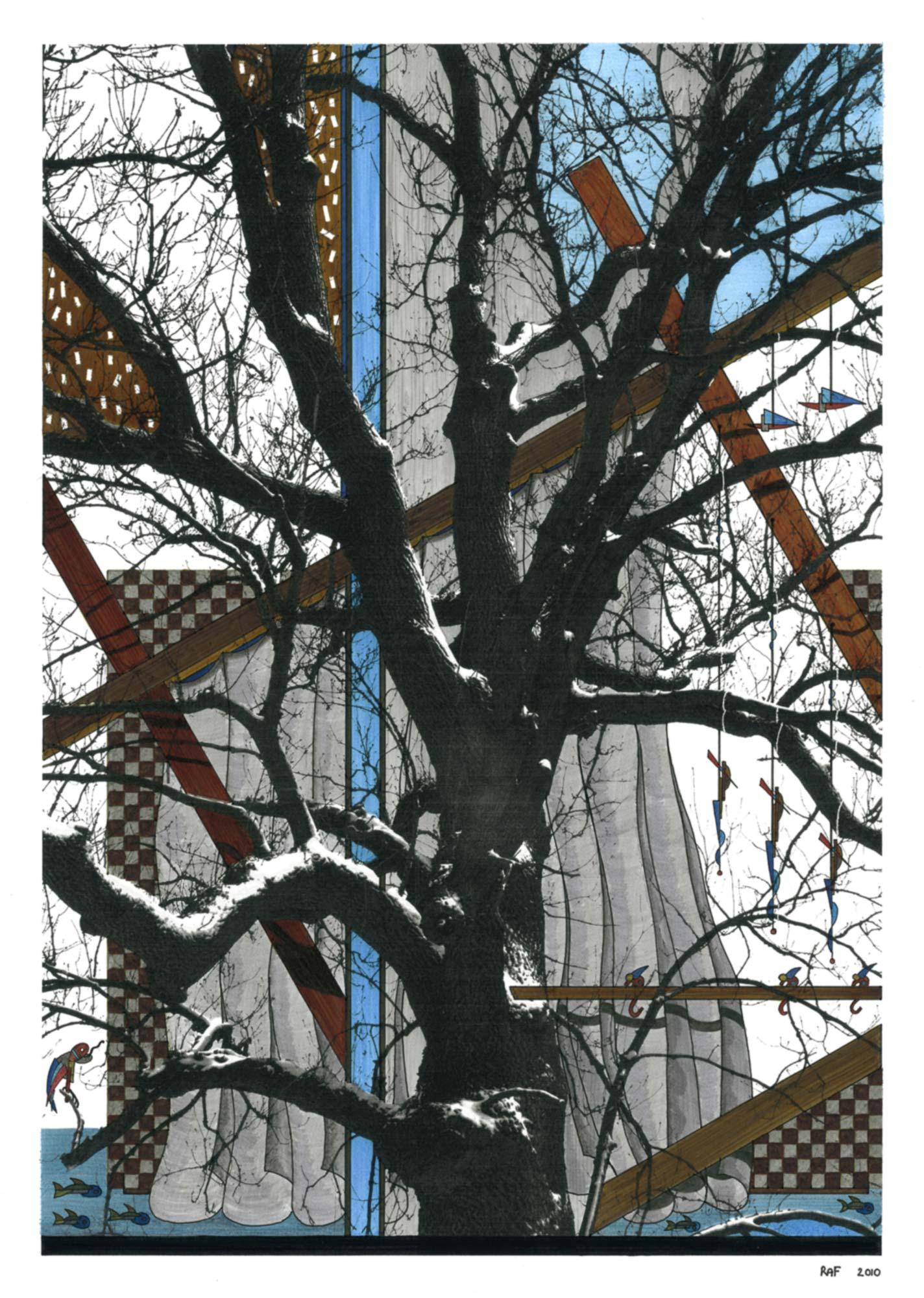 L'arbre caché, dessin, Raf Listowski, 2010