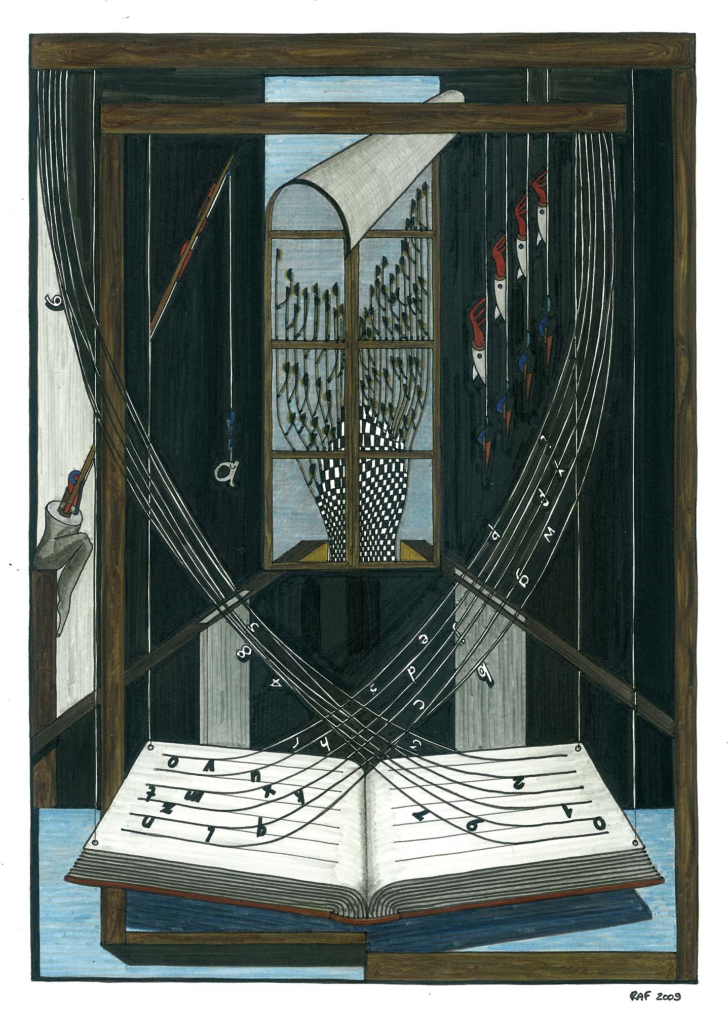 La fenêtre, dessin, Raf Listowski, 2009
