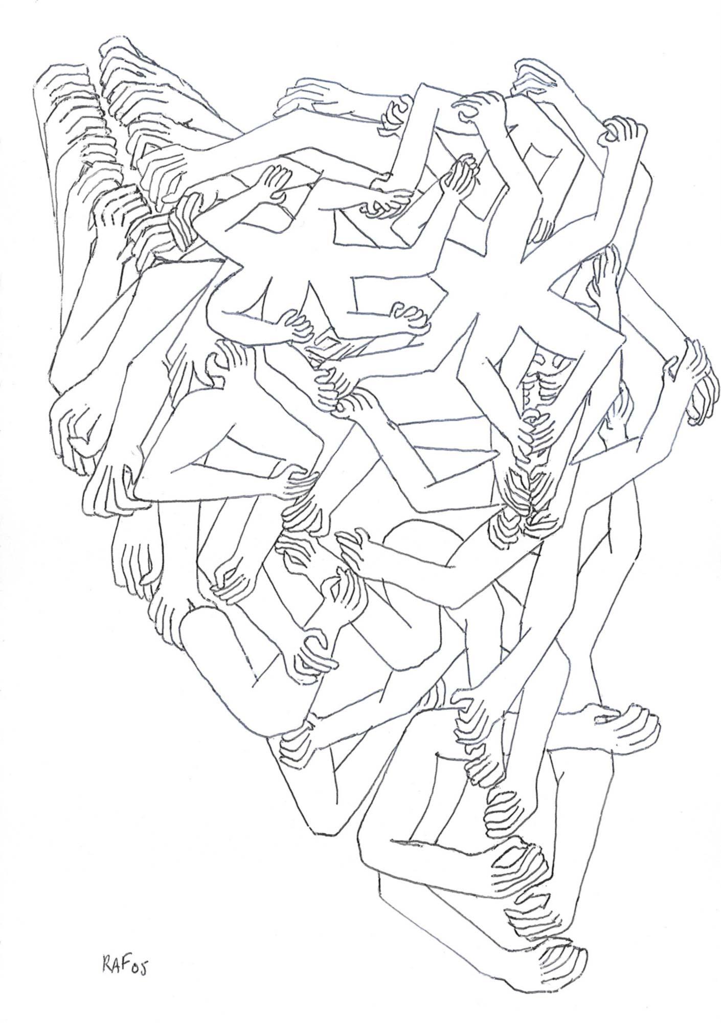 La fourmilière, dessin, Raf Listowski, 2005