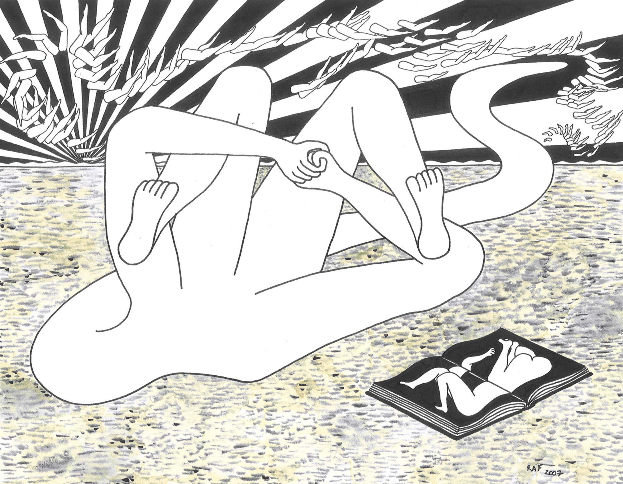 La lectrice, dessin, Raf Listowski, 2007