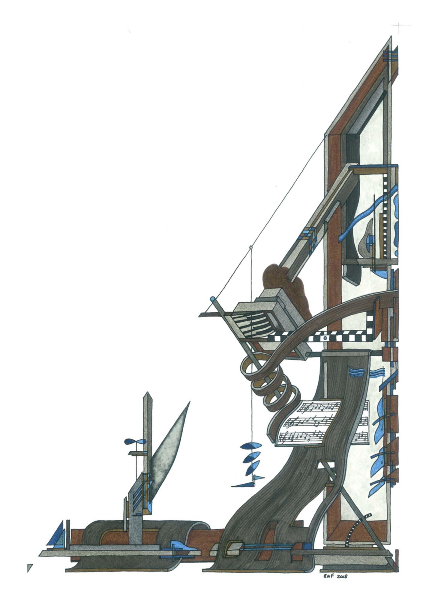 La machine à bach, dessin, Raf Listowski, 2008