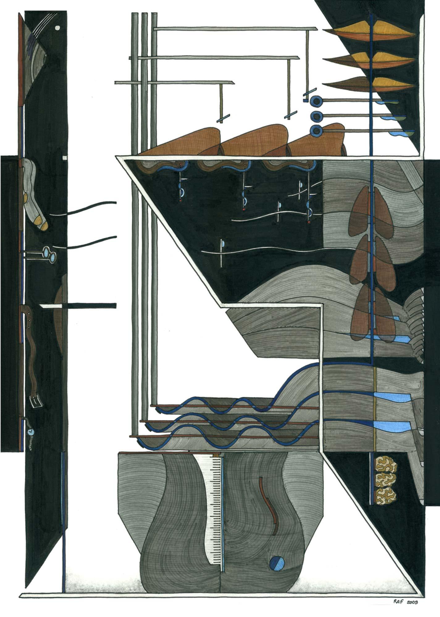 La malle de l'éthnologue, dessin, Raf Listowski, 2009