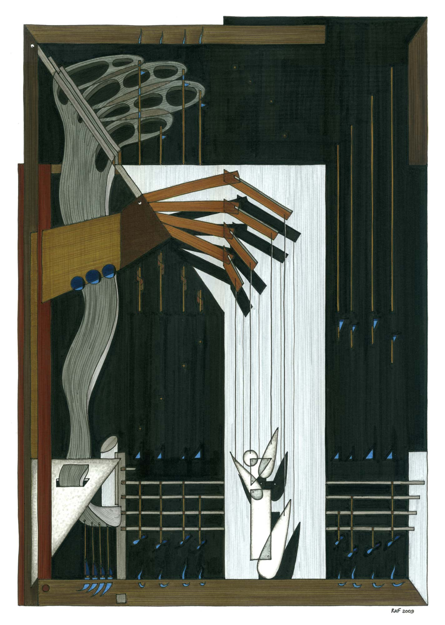 La manipulation, dessin, Raf Listowski, 2009