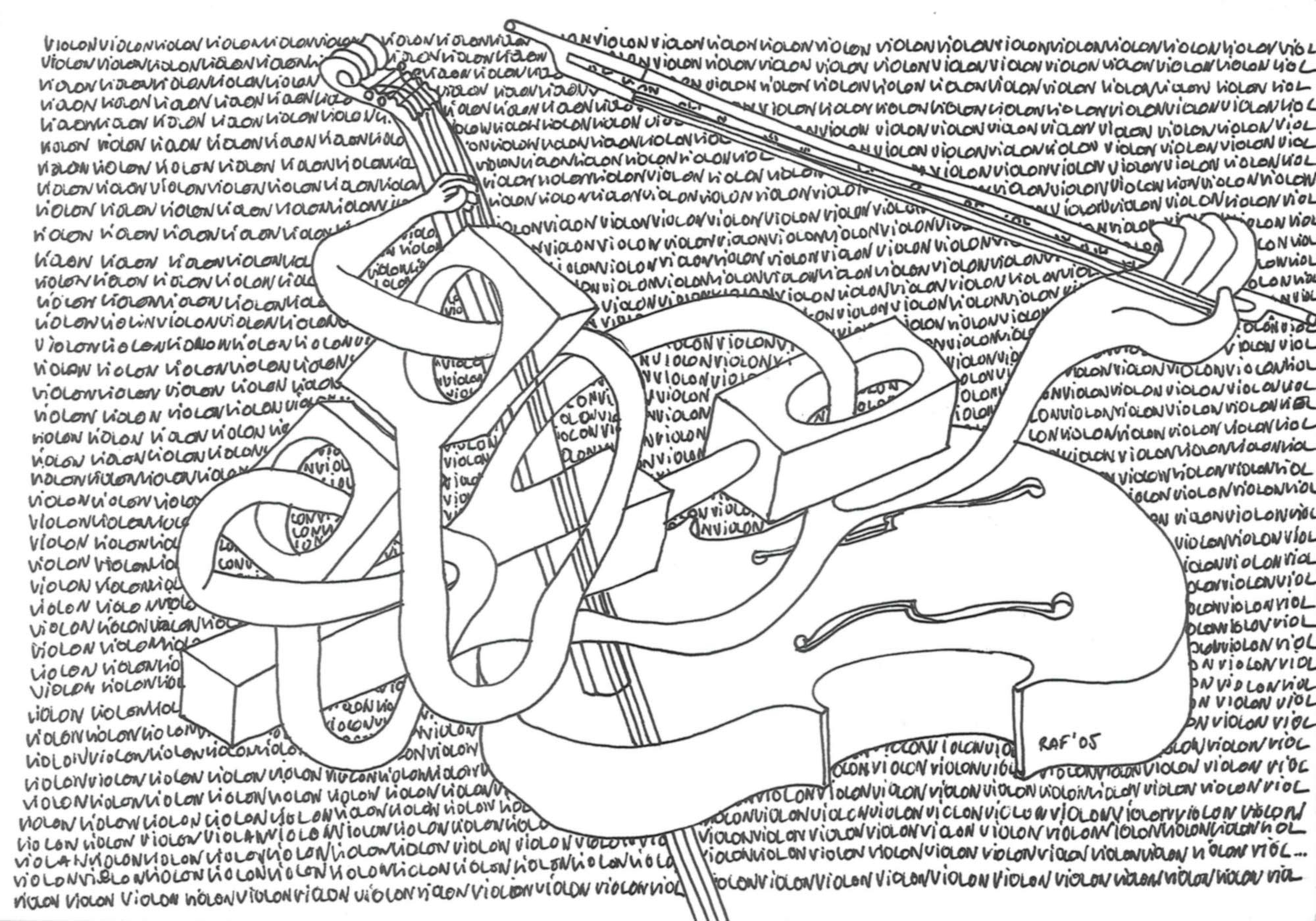 La répétition, dessin, Raf Listowski, 2005