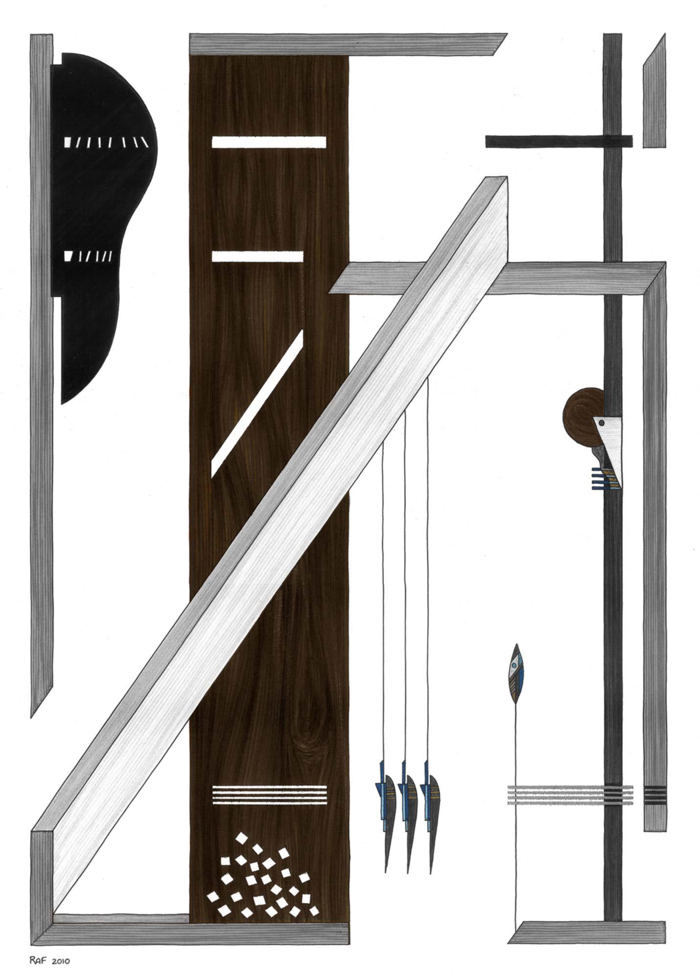 La toise, dessin, Raf Listowski, 2010