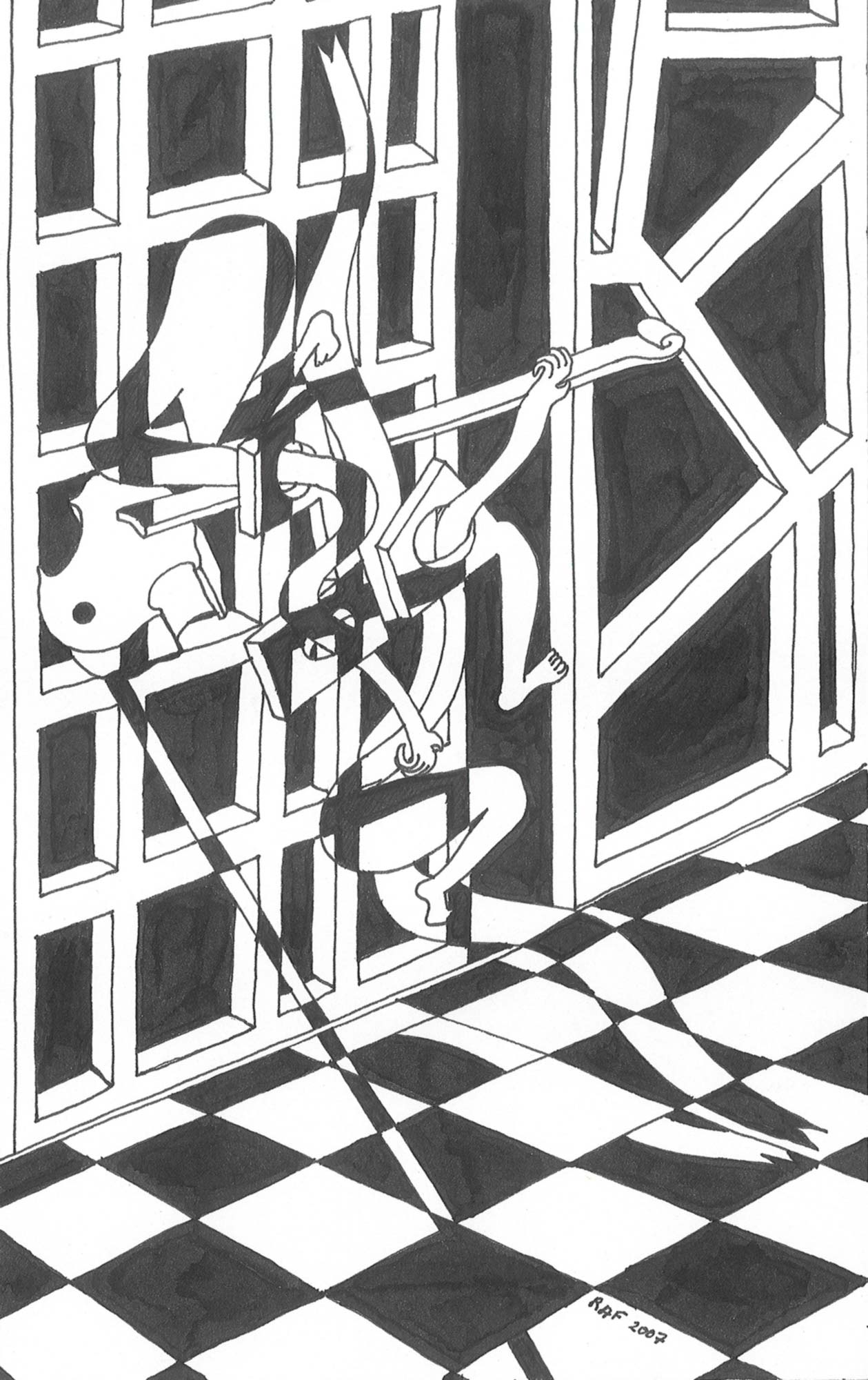 Le bal masque, dessin, Raf Listowski, 2007