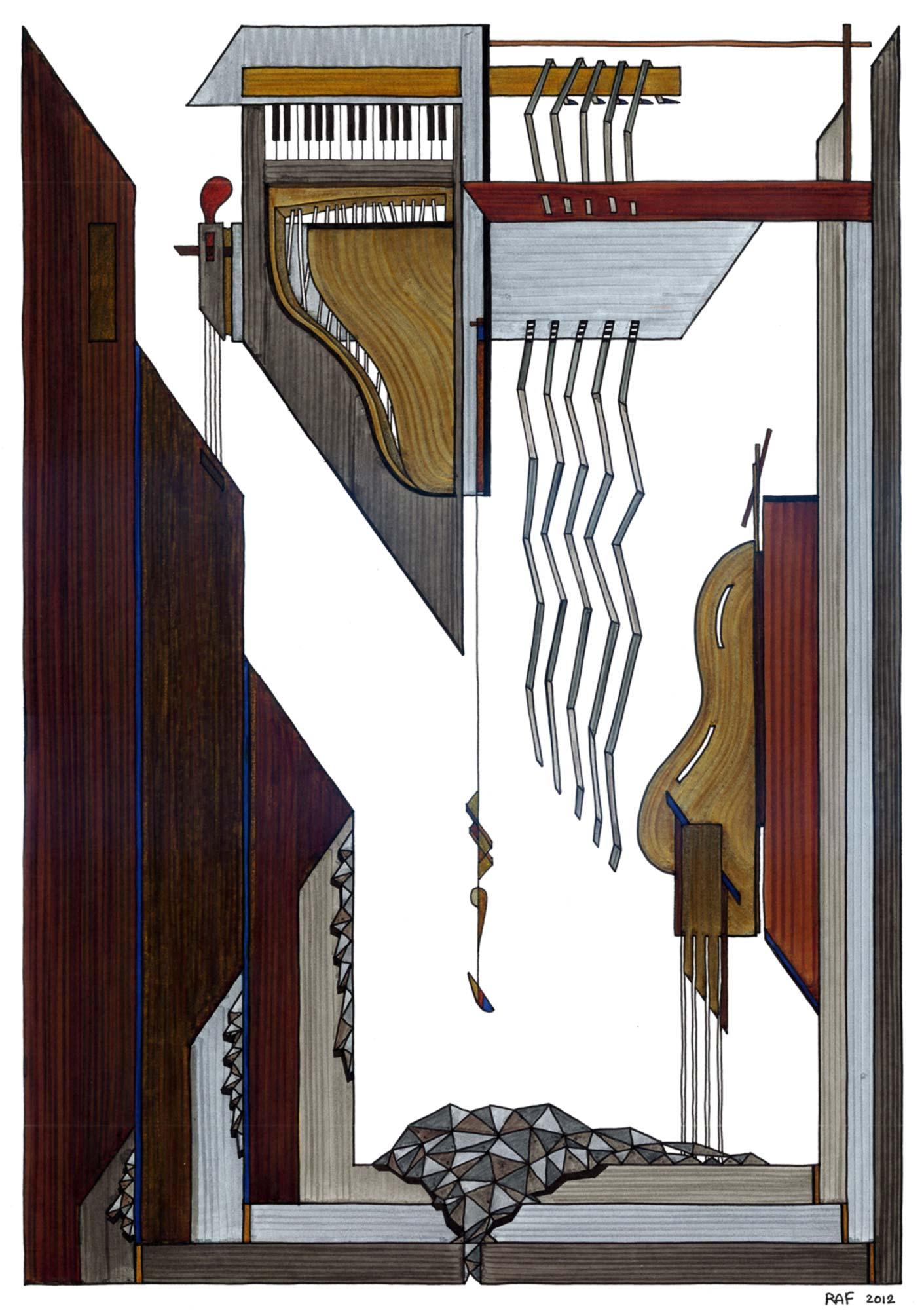 Le cabinet de musique, dessin, Raf Listowski, 2012