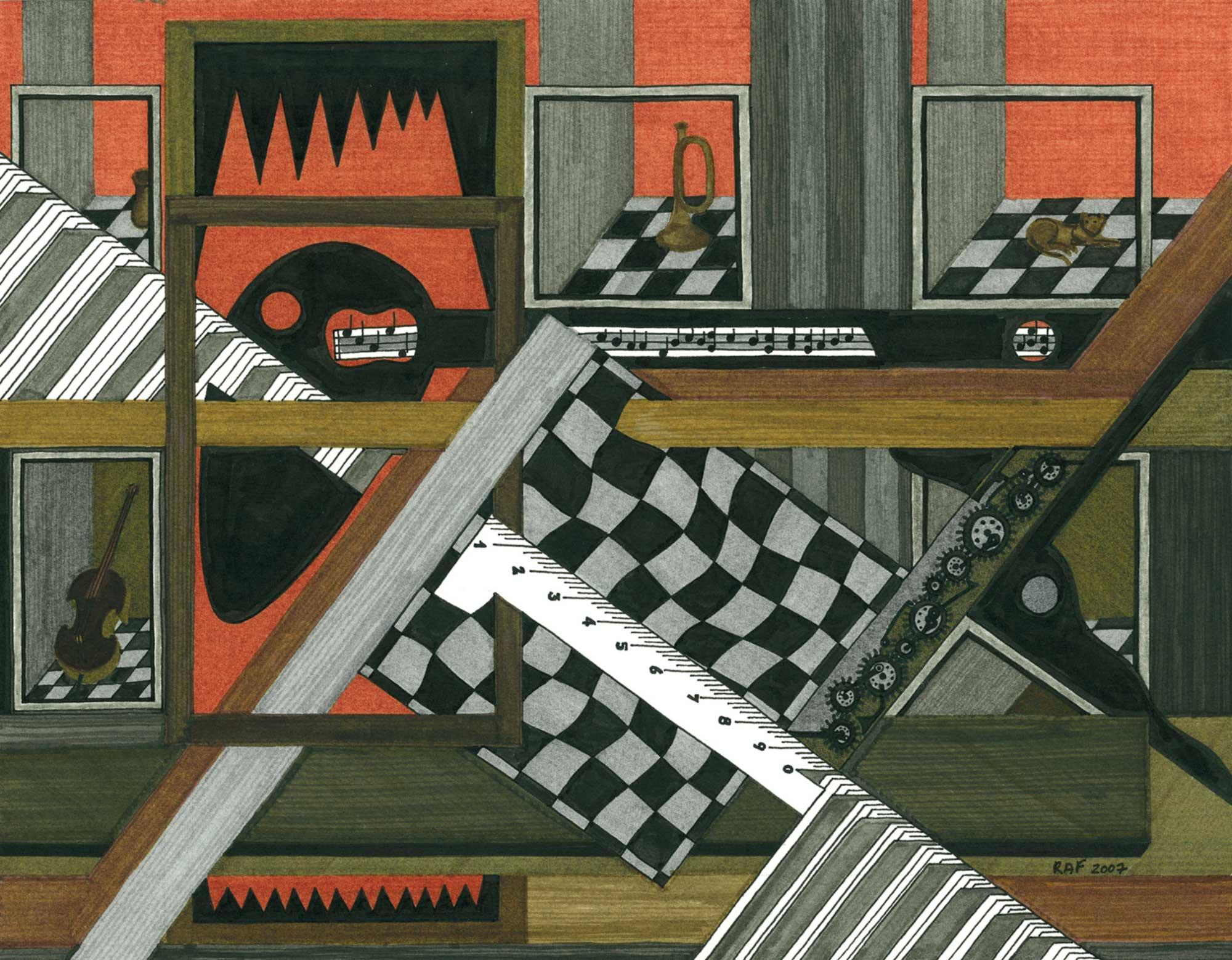 Le grenier, dessin, Raf Listowski, 2007
