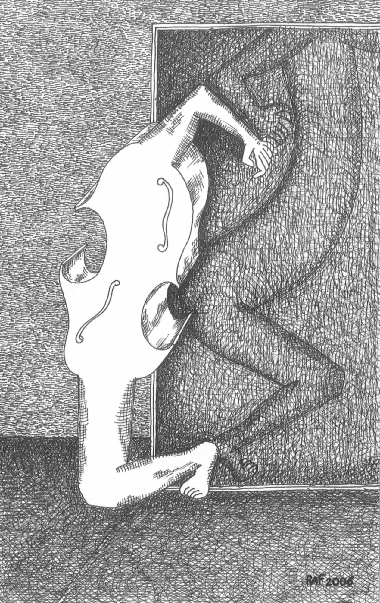 Le mensonge, dessin, Raf Listowski, 2006
