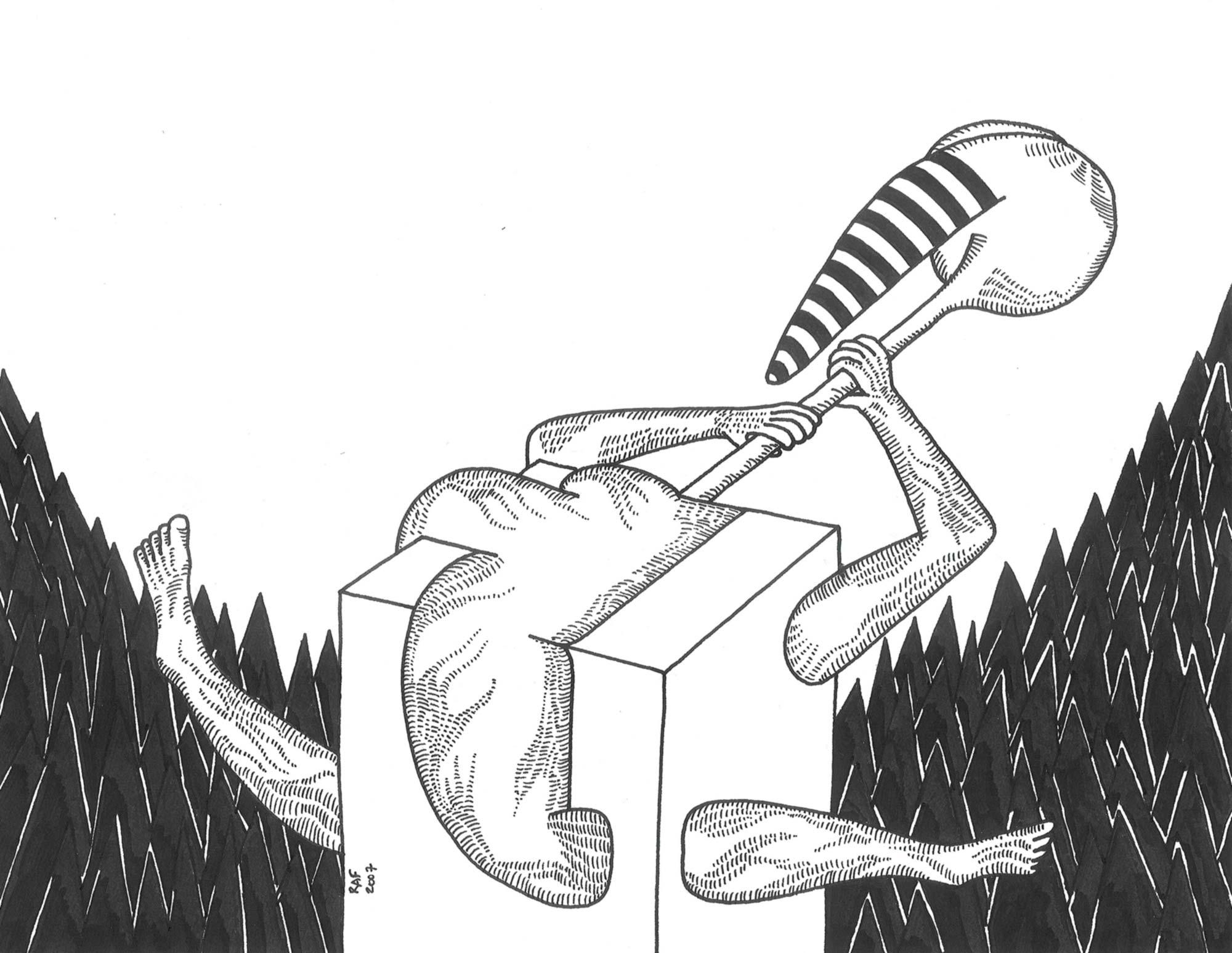 Le montagnard, dessin, Raf Listowski, 2007