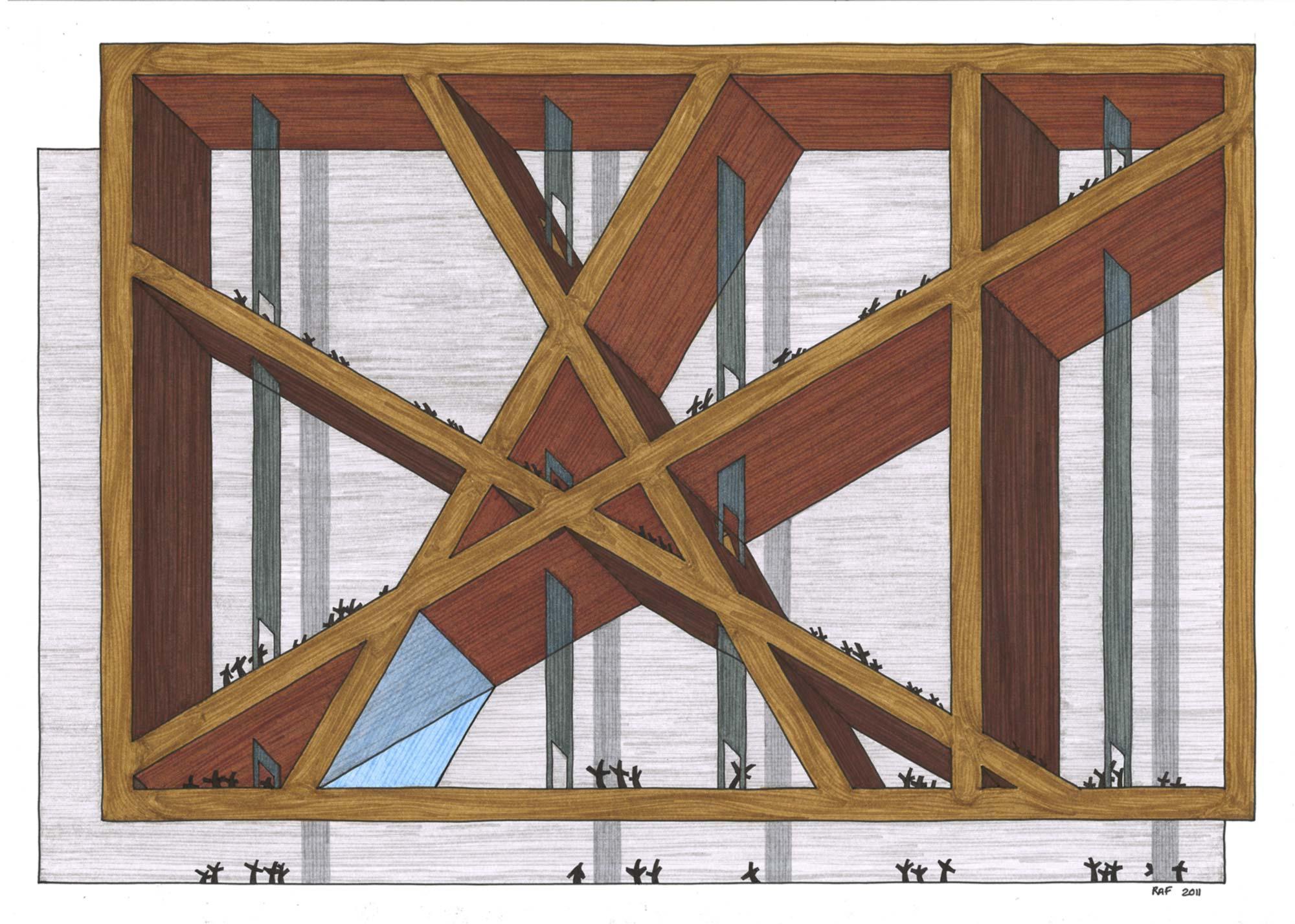 Le musée imaginaire, dessin, Raf Listowski, 2011
