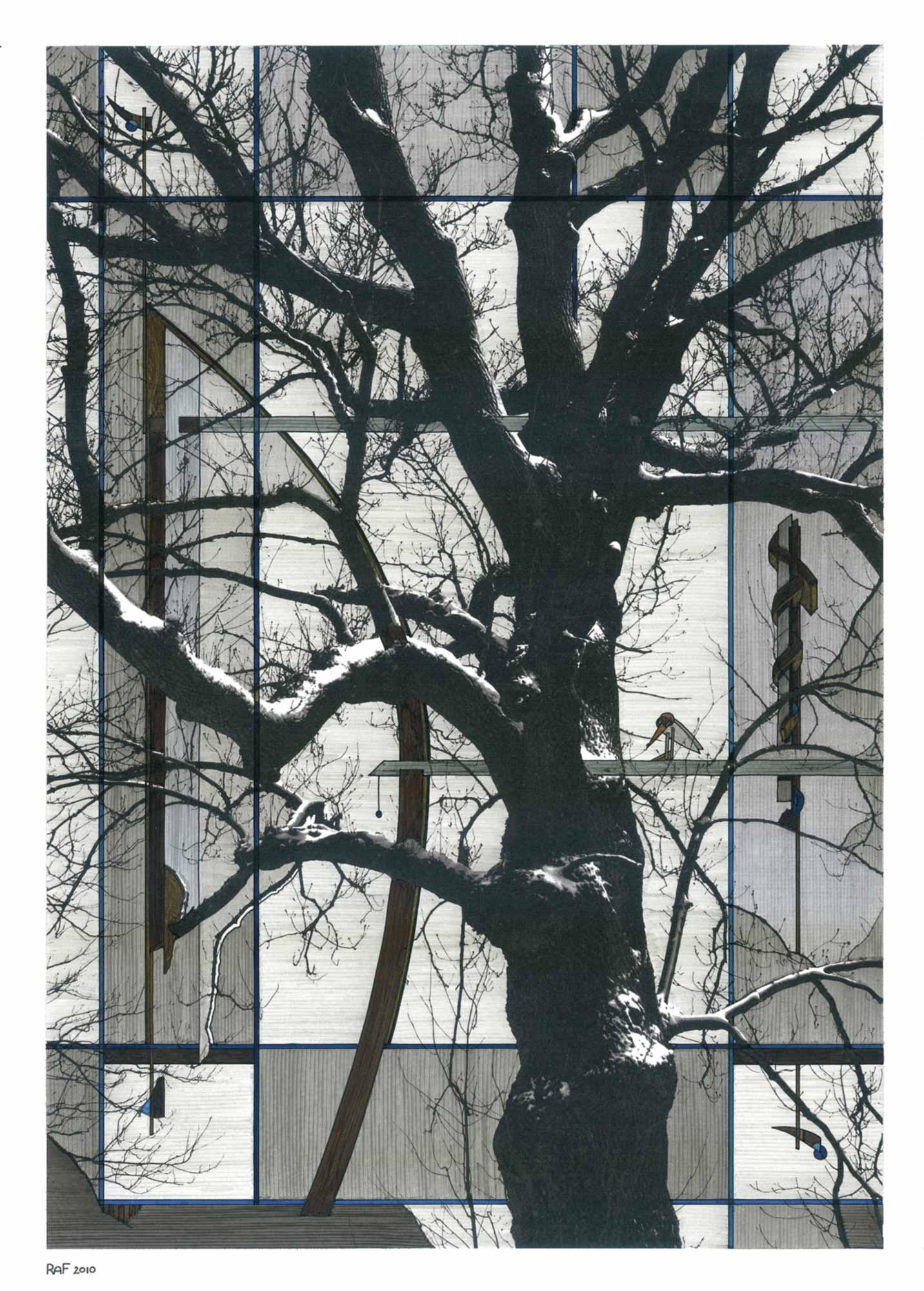 Le paradoxe de l'oiseau, dessin, Raf Listowski, 2010