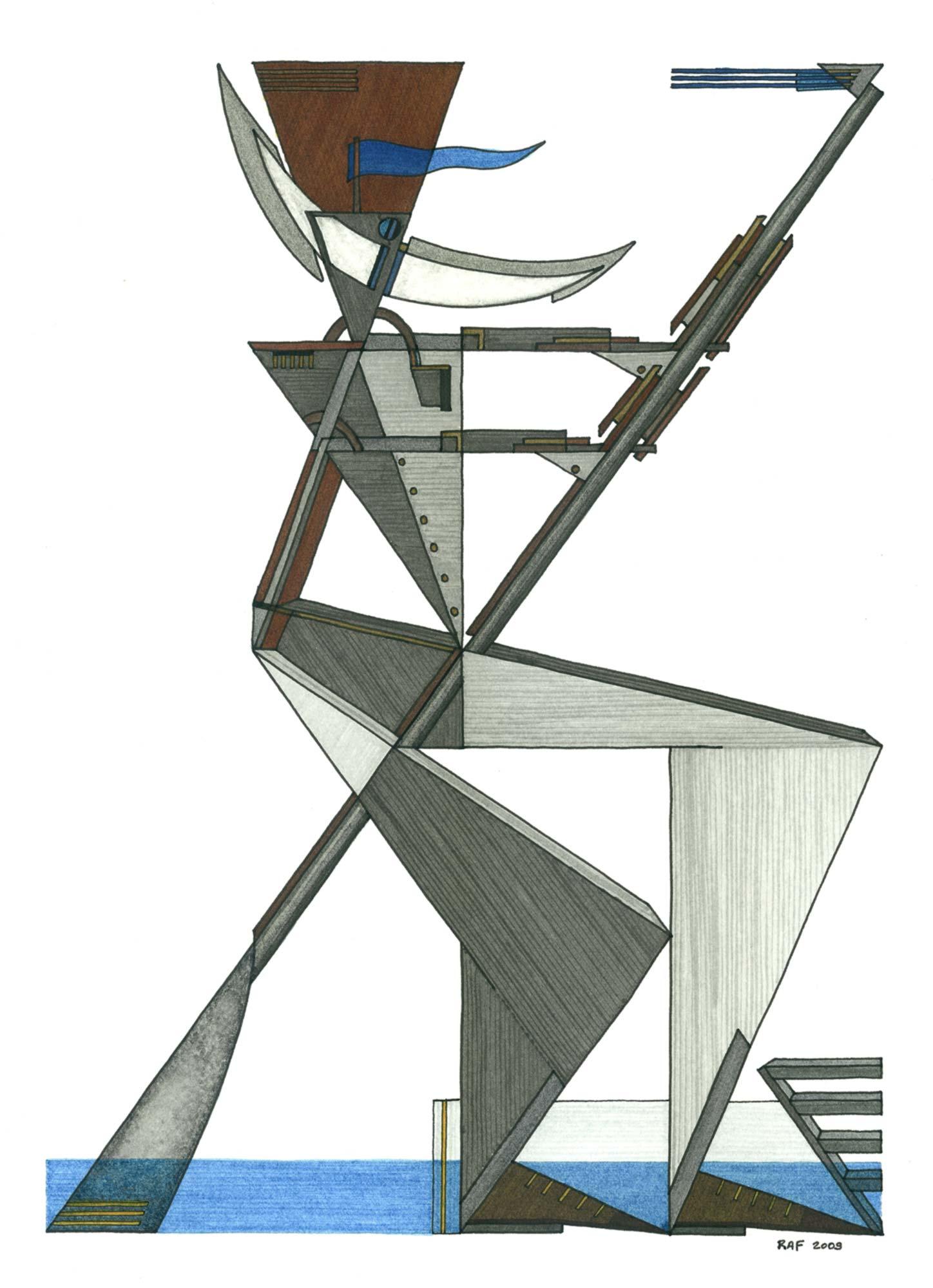 Le rameur, dessin, Raf Listowski, 2009