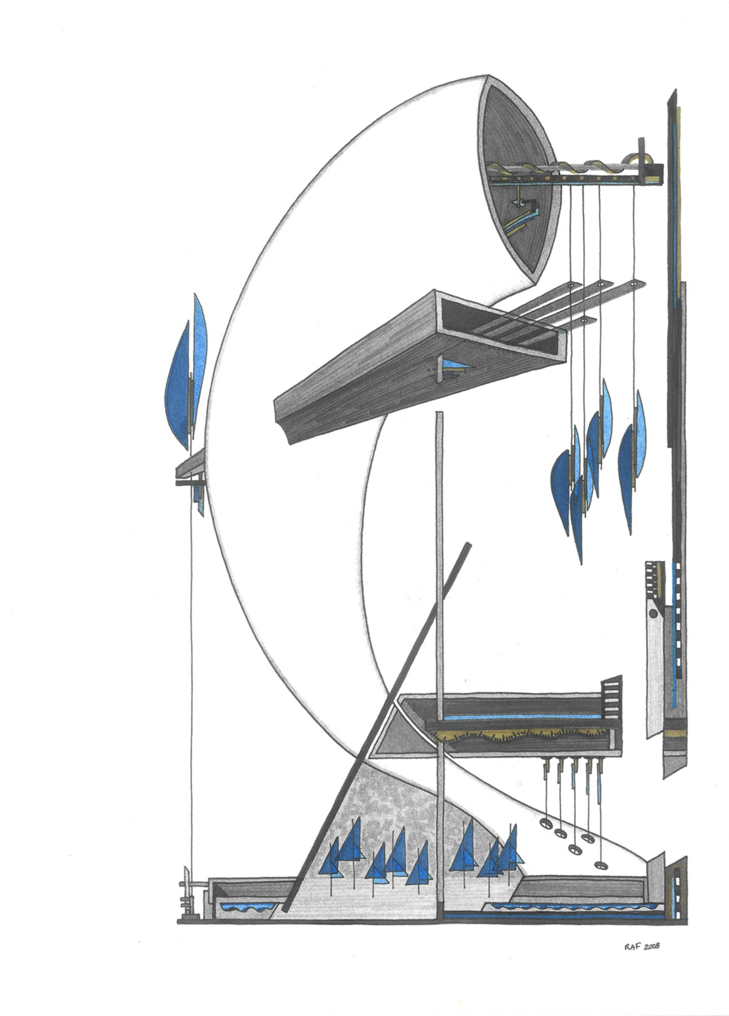 Les pendules de la baleine, dessin, Raf Listowski, 2008