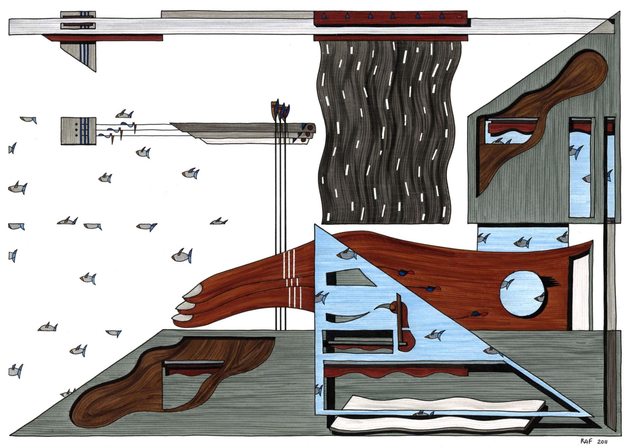 Paysage, dessin, Raf Listowski, 2011