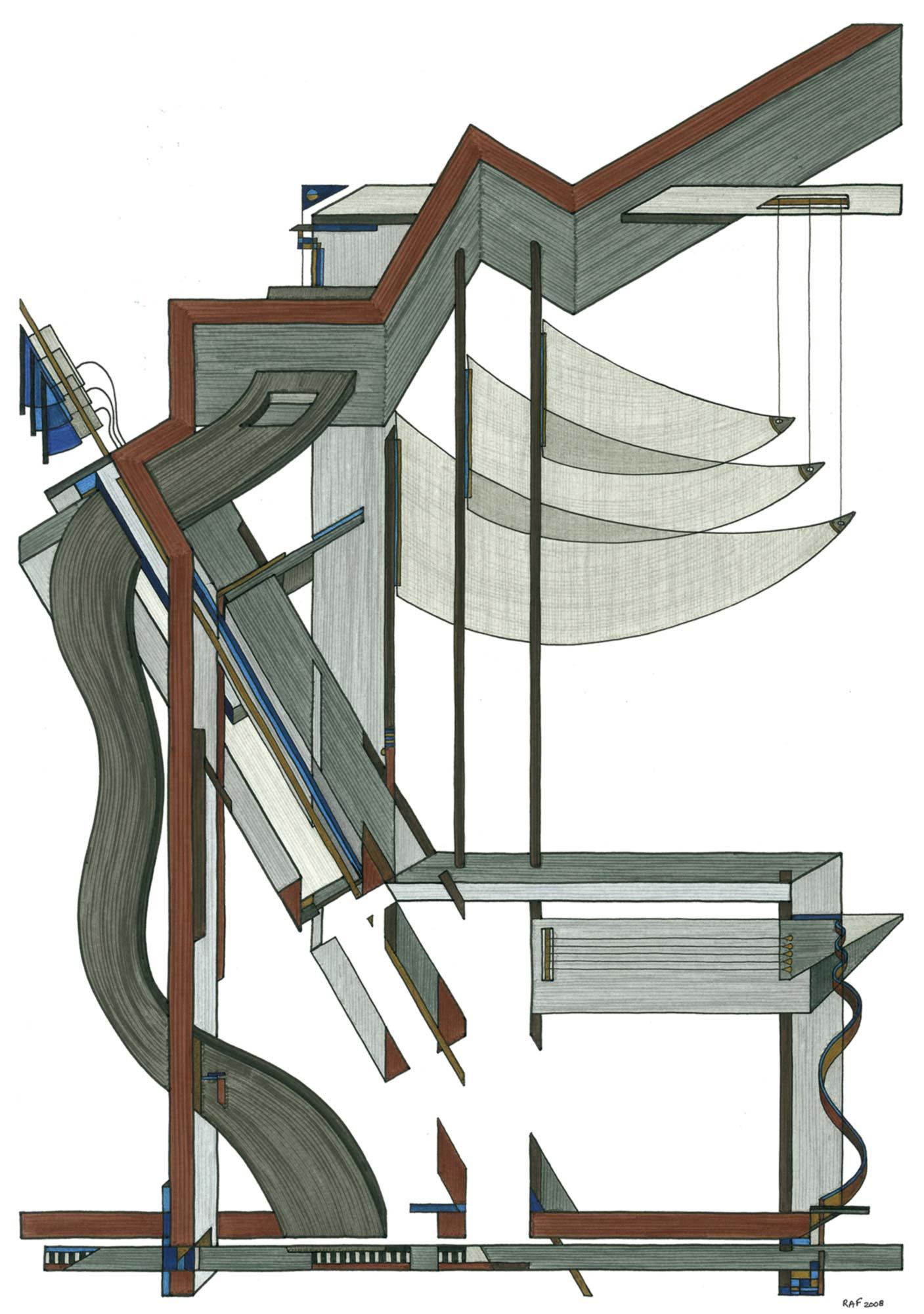 Suspendu, dessin, Raf Listowski, 2008
