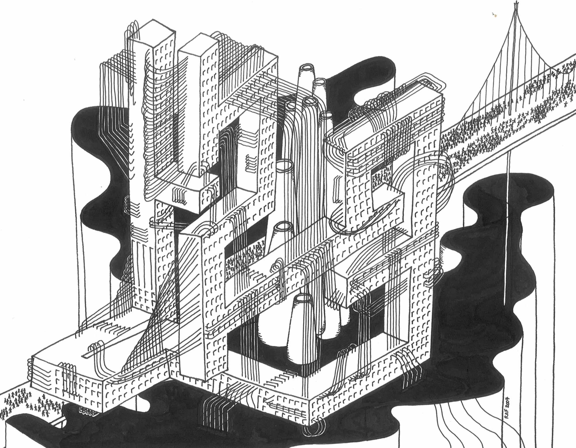 Travailleurs, dessin, Raf Listowski, 2007