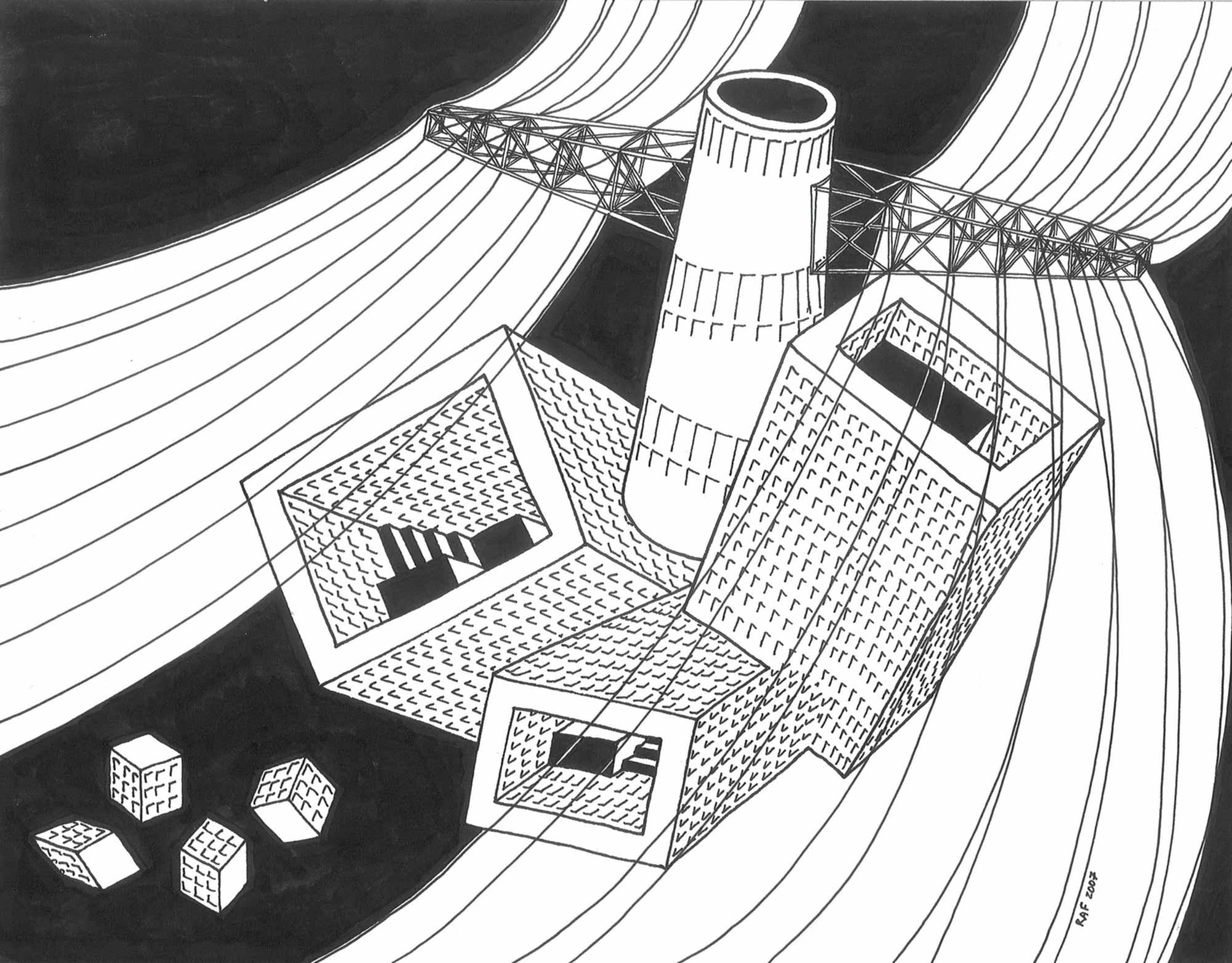 Vol de nuit, dessin, Raf Listowski, 2007