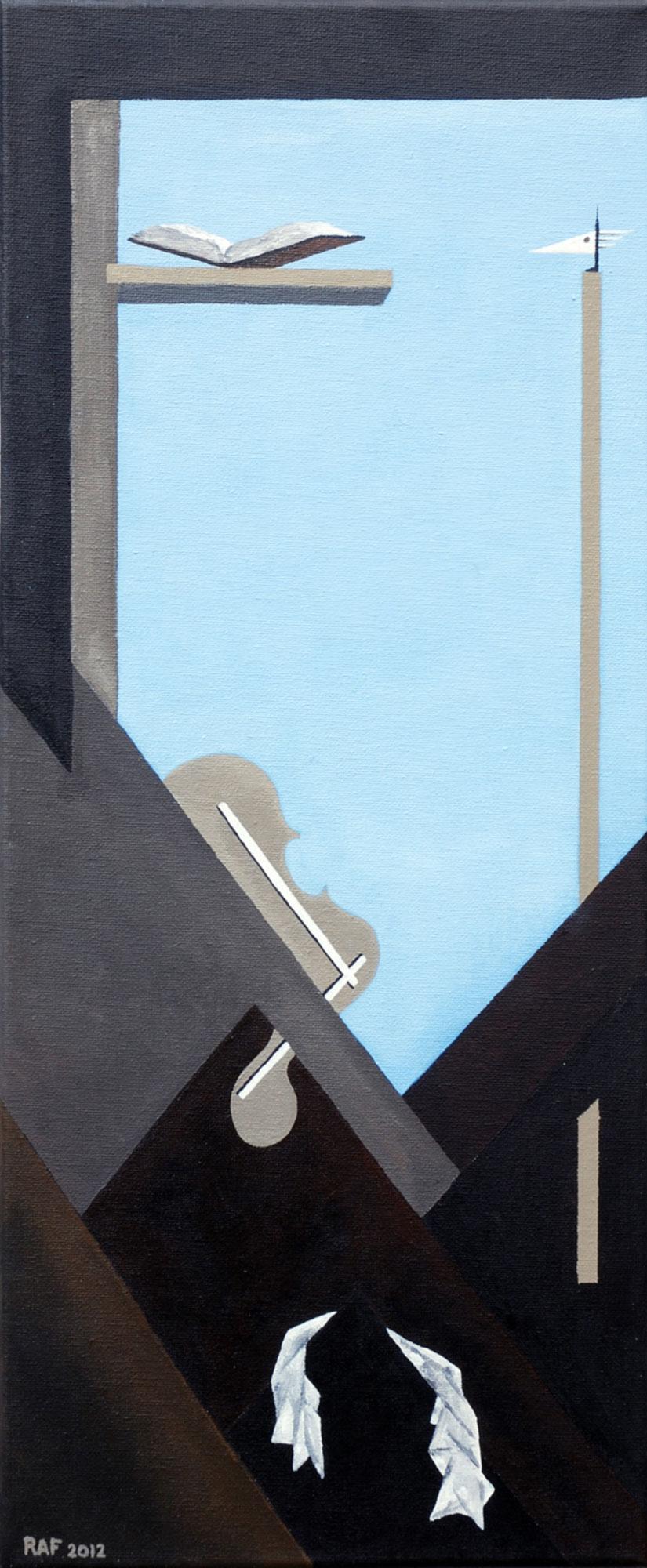 L'entracte, peinture acrylique sur toile, 2012, peinture acrylique sur carton, 25x60 cm