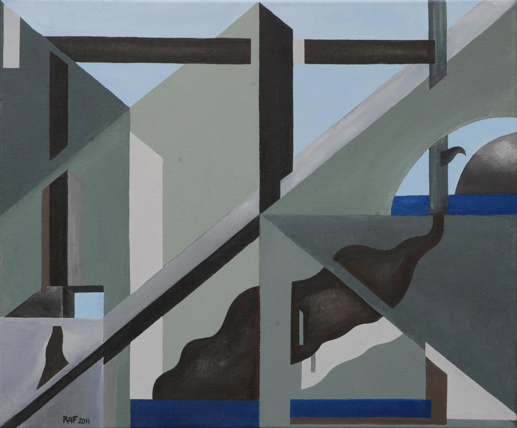 Le laboratoire, peinture acrylique sur toile, 2011, peinture acrylique sur carton, 55x46 cm