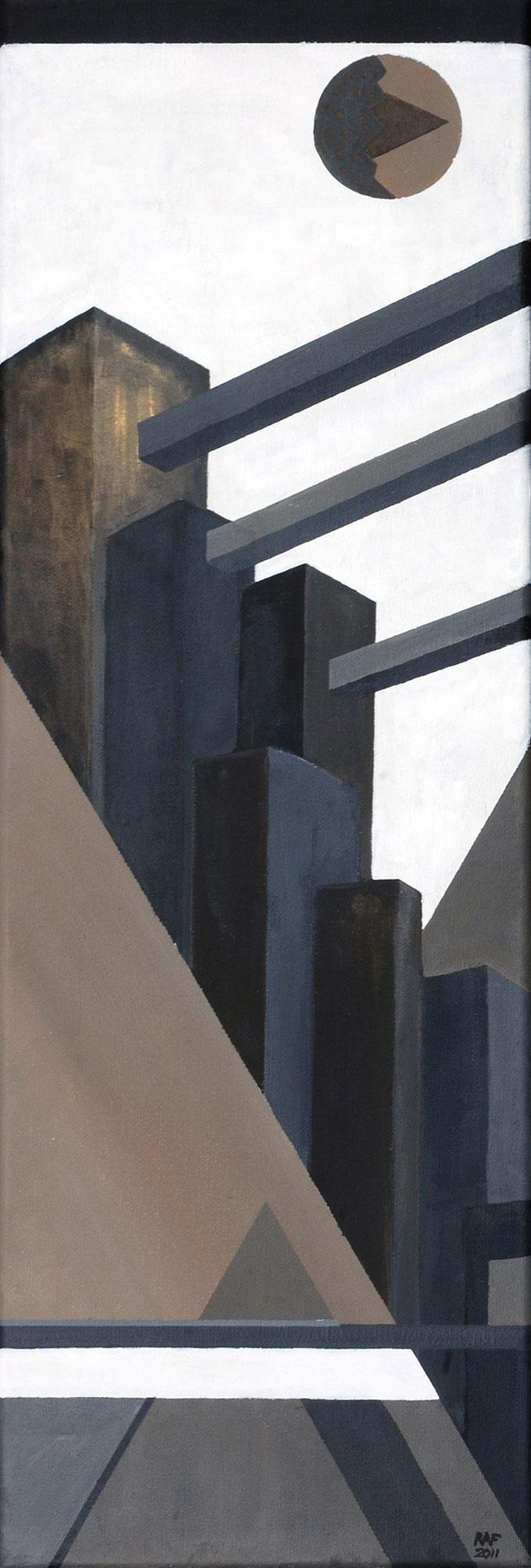 Métropole, peinture acrylique sur toile, 2011, peinture acrylique sur carton, 20x60 cm