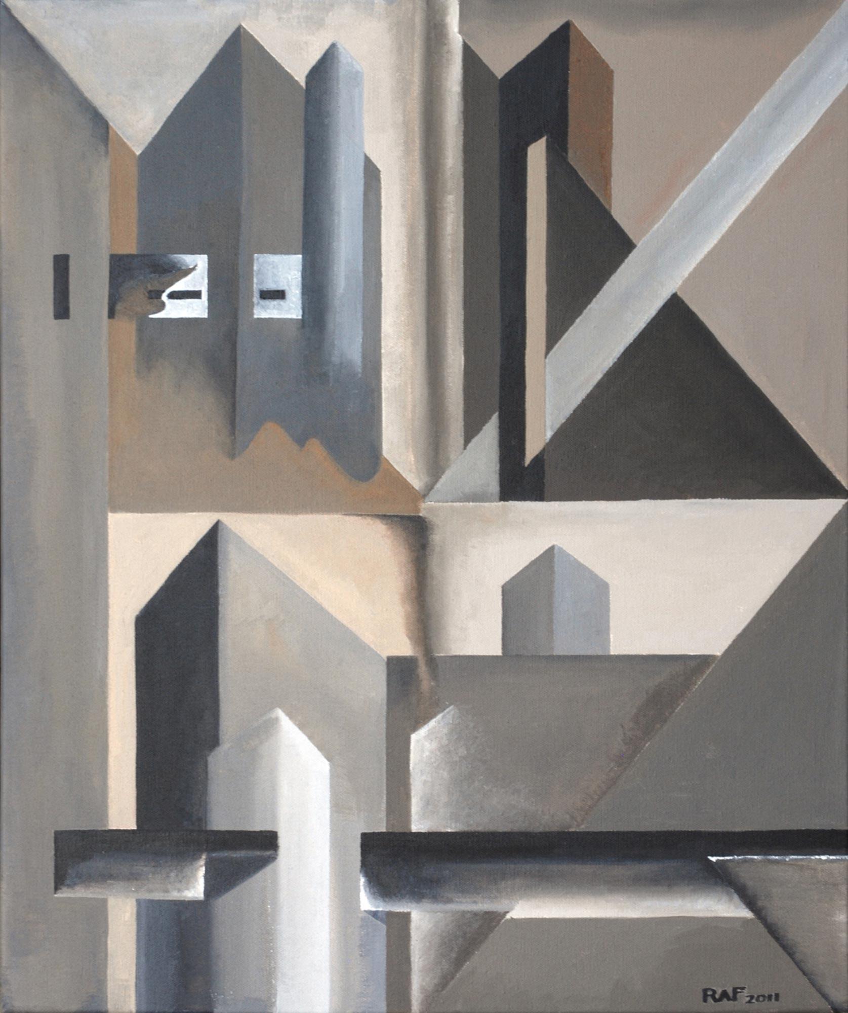 Usines, peinture acrylique sur toile, 2011, peinture acrylique sur carton, 46x55 cm
