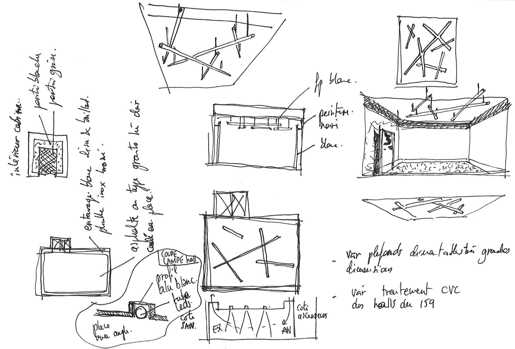 Raf Listowski Atelier d'Architecture création bureaux réhabilitation transformation nouveau siège social Carac Thétis felix potin Neuilly croquis esquisse dessin